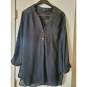 Black long sleeve polyester blouse